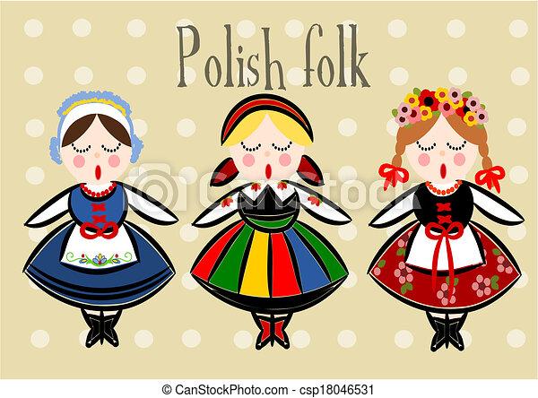 伝統的である, ポーランド語, -, 衣装, vector. - csp18046531