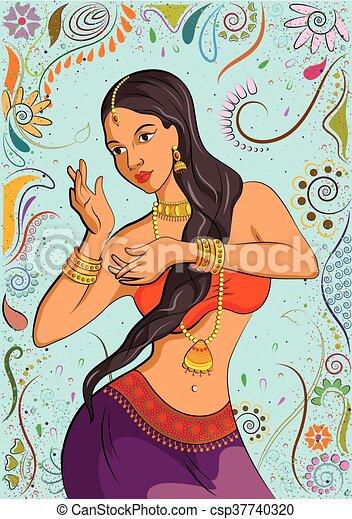 伝統的である, 女, indian, ダンスとなりなさい - csp37740320