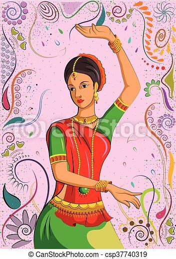 伝統的である, 女, indian, ダンスとなりなさい - csp37740319