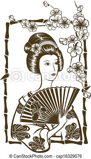 伝統的である, 日本語, 芸者 - csp16329076