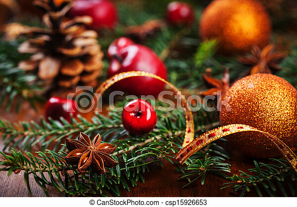 伝統的である, 装飾, クリスマス - csp15926653