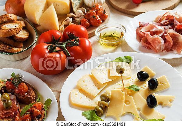 伝統的である, 食物, antipasto, イタリア語, 前菜 - csp3621431