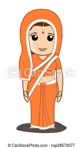 伝統的である, saree, 女, indian - csp28570077