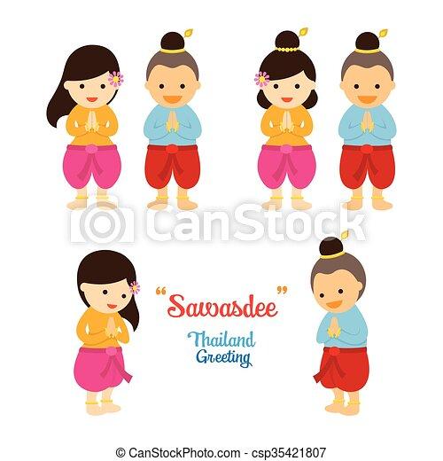 伝統的である, sawasdee, タイ人, 子供, 衣類 - csp35421807