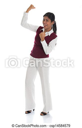 体, フルである, 女性, 成功, 隔離された, 祝う, indian, 背景, 白, 偶然 - csp14584579