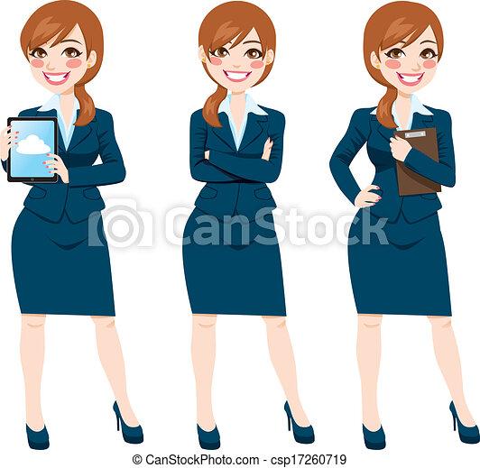 体, 女性実業家, ポーズを取る, ブルネット, フルである - csp17260719