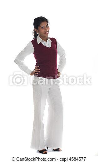 体, 女, フルである, 隔離された, 偶然, indian, 肖像画, 白, 微笑 - csp14584577