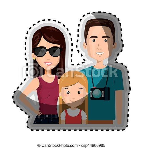 体, 家族, ステッカー, カメラ, 半分, 漫画, 旅行 - csp44986985