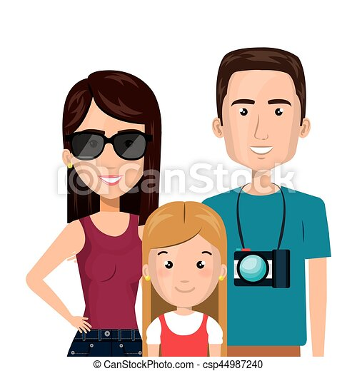 体, 家族, 旅行, カメラ, 半分, 漫画 - csp44987240