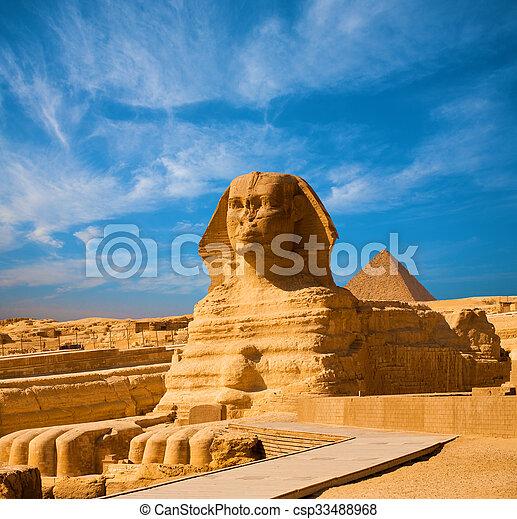 体, 青, 大きい ピラミッド, スフィンクス, エジプト, 空, ギザ - csp33488968