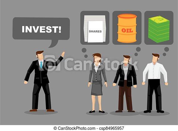 何か, 彼, 不確実, 投資しなさい, for., ビジネスマン, 要求, 他, 請求 - csp84965957