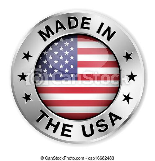 作られた, バッジ, 銀, アメリカ - csp16682483