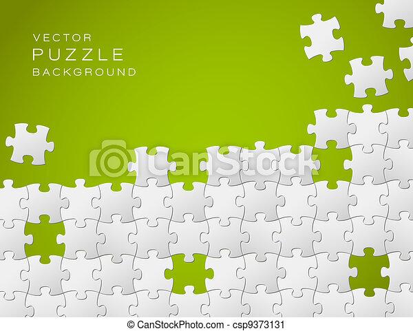 作られた, パズル小片, ベクトル, 緑の背景, 白 - csp9373131