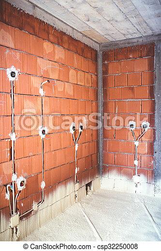 作られた, 効率的である, エネルギー, 上, 熱, 家, 材料, 壁, 電気, 断熱材, プラグ, れんが, 品質, パイプ - csp32250008