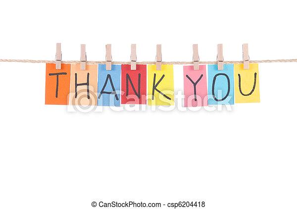 你, 感謝, 木制, 懸挂, 詞, 釘 - csp6204418