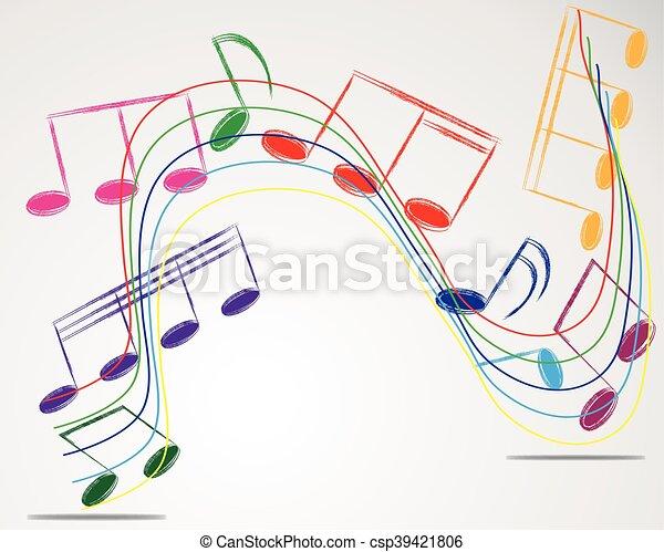 使用, メモ, ベクトル, デザイン, 背景, 音楽のスタッフ - csp39421806