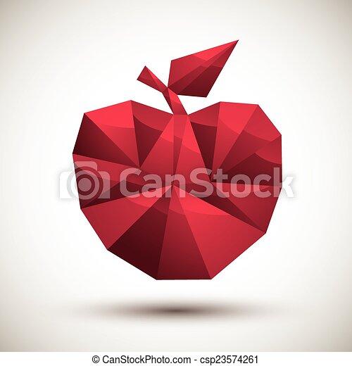 使用, 作られた, アップル, アイコン, 現代, 赤, 幾何学的, 3d, 最も良く, スタイル - csp23574261