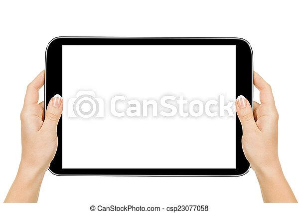 保有物, タブレット, 小道具, 隔離しなさい, コンピュータ, 女性手, 感触 - csp23077058