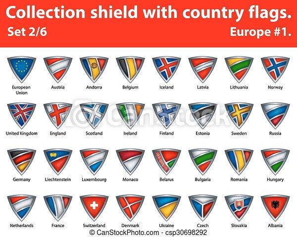 保護, 国, コレクション, 2, 6, 部分, flags. - csp30698292
