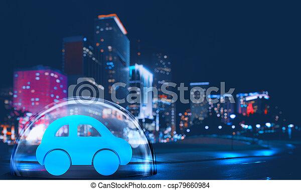 保護, 都市, おもちゃ, 中, 保護, 自動車, 概念, 安全に, ドーム, 保険, night. - csp79660984