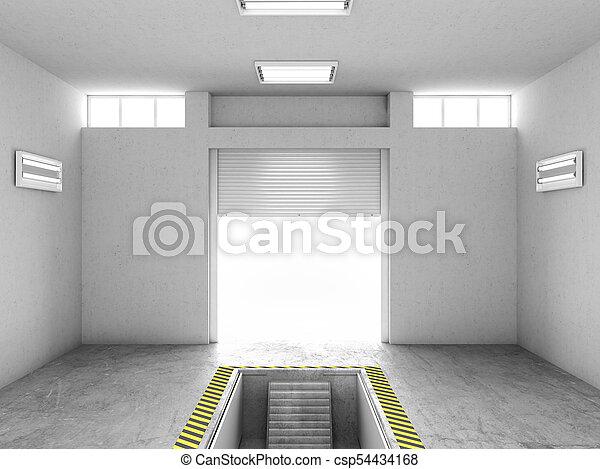 修理, イラスト, ガレージ, pit., 内部, 開いた, 空, 3d - csp54434168