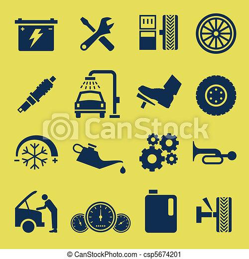 修理, サービス, 自動車, シンボル, 自動車, アイコン - csp5674201