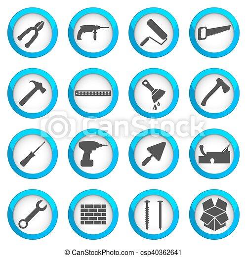修理, セット, 改修, アイコン, 家 - csp40362641
