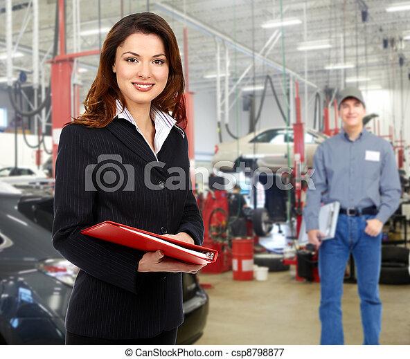 修理, 經理, 婦女, service., 汽車 - csp8798877