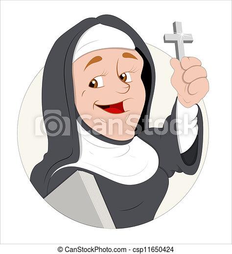 修道女, ベクトル, 特徴, 漫画 - csp11650424