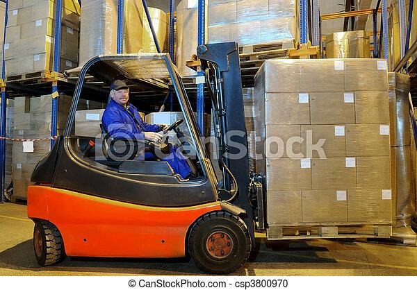 倉庫, フォークリフト, 労働者, 積込み機 - csp3800970