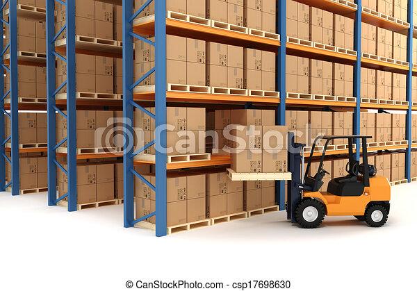 倉庫, フォークリフト, 3d - csp17698630