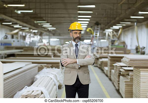 倉庫, ヘルメット, スーツ, ビジネスマン, ハンサム, 肖像画 - csp65209700