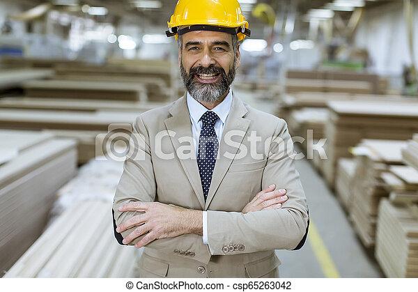 倉庫, ヘルメット, スーツ, ビジネスマン, ハンサム, 肖像画 - csp65263042