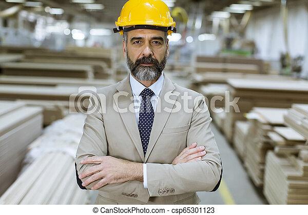 倉庫, ヘルメット, スーツ, ビジネスマン, ハンサム, 肖像画 - csp65301123