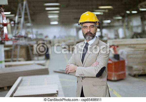 倉庫, ヘルメット, スーツ, ビジネスマン, ハンサム, 肖像画 - csp65498911