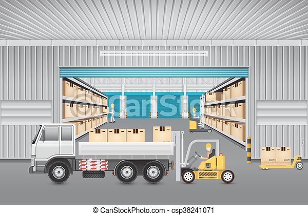 倉庫, ベクトル, デザイン - csp38241071
