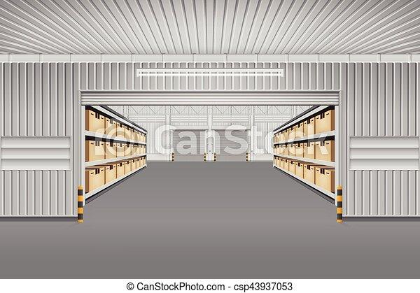 倉庫, ベクトル, 背景 - csp43937053