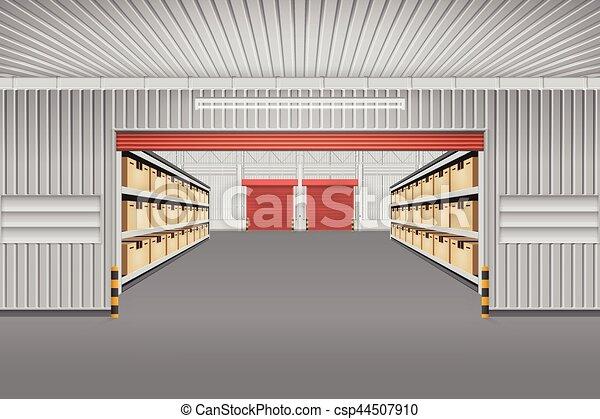 倉庫, ベクトル, 背景 - csp44507910