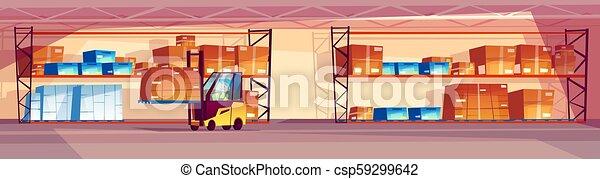 倉庫, 内部, ベクトル, イラスト - csp59299642