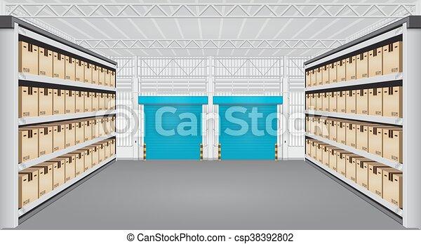倉庫, 内部, ベクトル - csp38392802