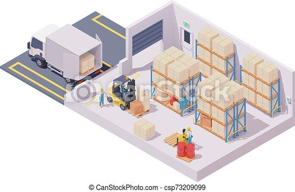倉庫, 内部, 等大, ベクトル - csp73209099