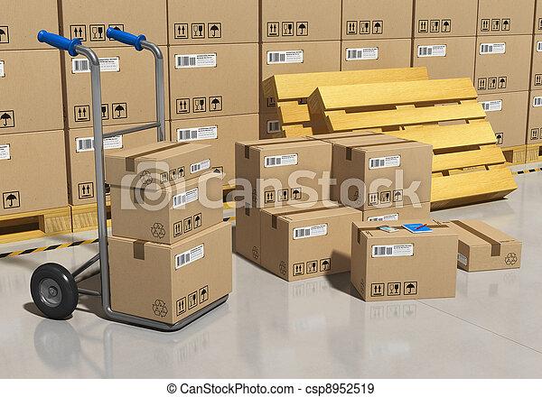 倉庫, 包まれる, 商品, 貯蔵 - csp8952519