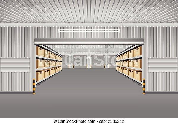 倉庫, 建物, ベクトル - csp42585342