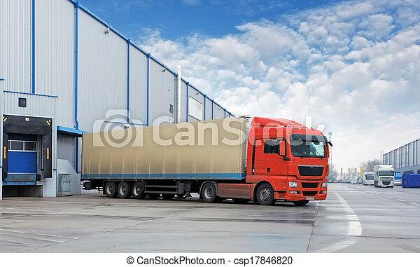 倉庫, 貨物, -, 交通機関, トラック - csp17846820
