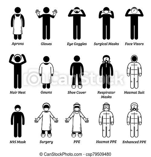 個人的な ヘルスケア, 医学, cliparts., 装置, ppe, 保護, ギヤ - csp79509480