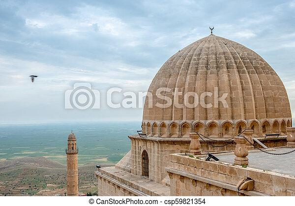 偉人, また, mardin, 平野, モスク, ulu, mesopotamian, cami, 背景, 知られている, turkey., ミナレット - csp59821354