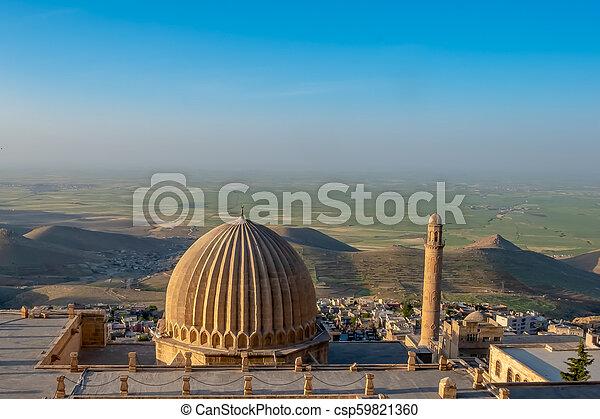 偉人, また, mardin, 平野, モスク, ulu, mesopotamian, cami, 背景, 知られている, turkey., ミナレット - csp59821360