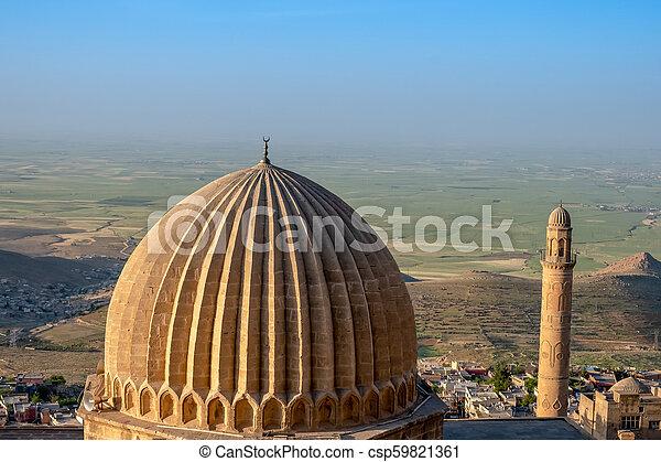 偉人, また, mardin, 平野, モスク, ulu, mesopotamian, cami, 背景, 知られている, turkey., ミナレット - csp59821361