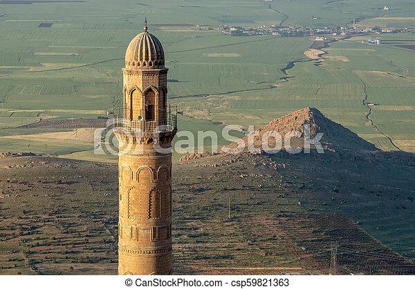 偉人, また, mardin, 平野, モスク, ulu, mesopotamian, cami, 背景, 知られている, turkey., ミナレット - csp59821363