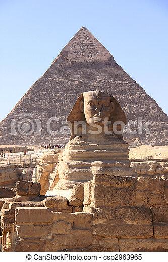偉人, 古代, スフィンクス, エジプトのピラミッド, 彫刻 - csp2963965